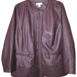 CJ Banks Faux Leather Coat